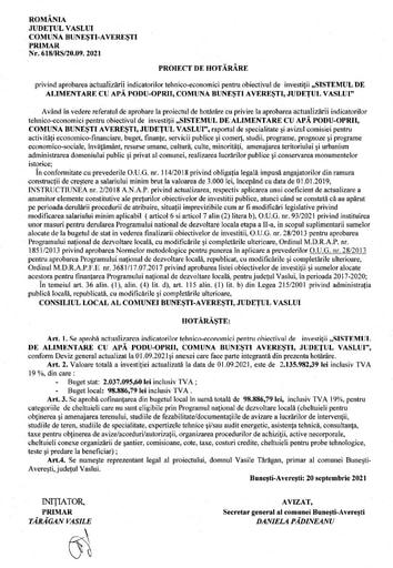 Proiect de hotarare cu privire la aprobarea si actualizarii Sistem de alimentare cu apa Podu Oprii